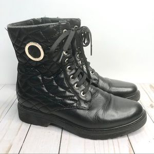 Andrea Morelli Black Quilted Leather Combat Boot 7